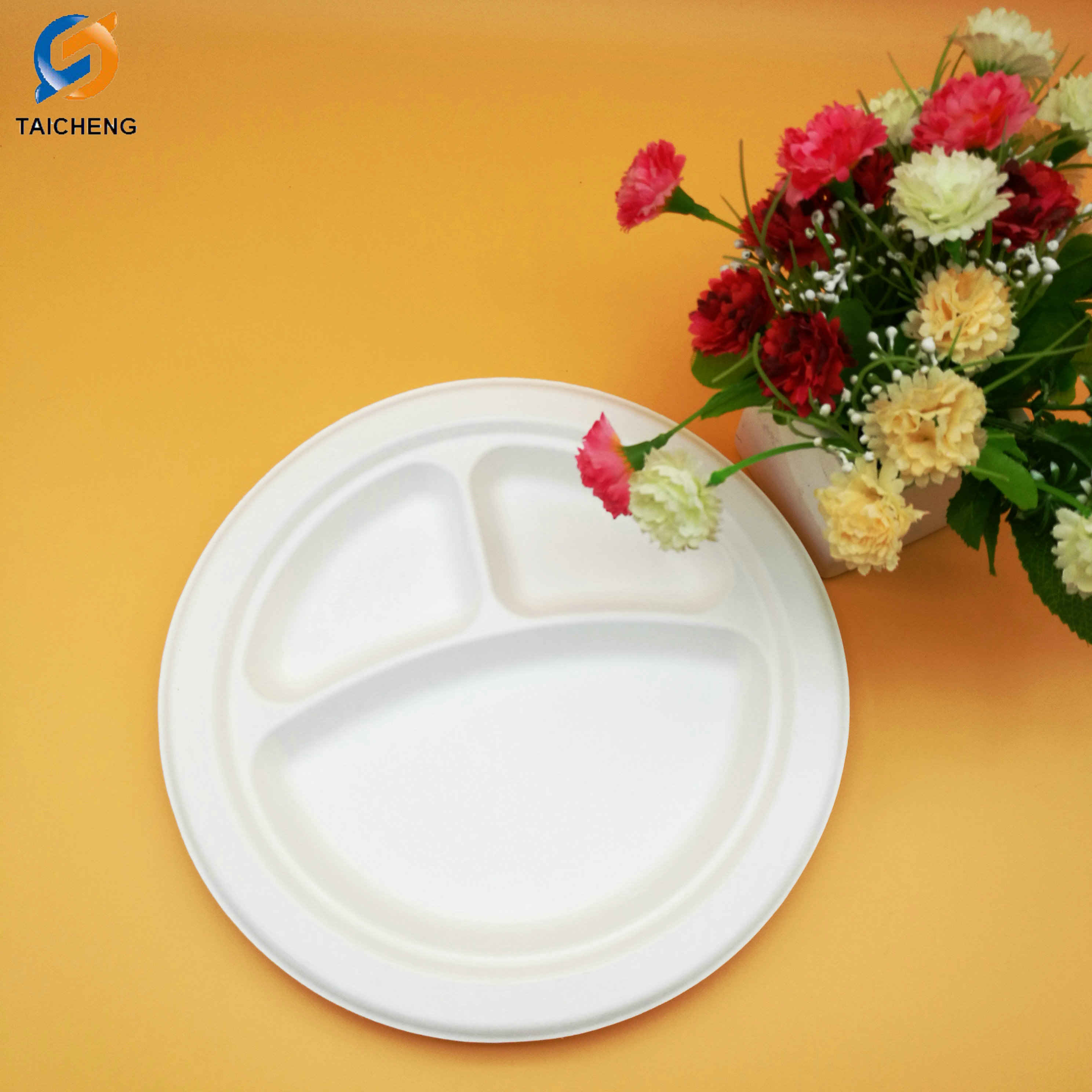 3-compartment earth-friendly paper bagasse round biodegradable disposable plates & 3-compartment earth-friendly paper bagasse round biodegradable ...