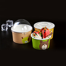 disposable ice cream yogurt paper cups wholesale with transparent dome lid