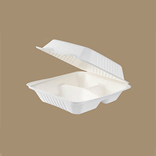 Disposable biodegradable microwave sugarcane bagasse molded pulp paper food packaging container clamshell