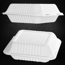 Disposable take away bagasse pulp food container match with lid ,sugarcane clamshell