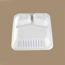 3 compartment food storage bagasse pulp paper pulp tableware box with embossed bottom