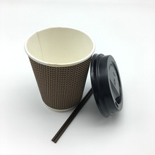 8oz,12oz ,16oz disposable ripple wall hot drink take away coffee paper cup with lid straw