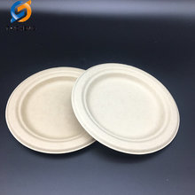 biodegradable sugarcane bagasse tableware pulp round plate food container