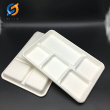 5 compartment tray bagasse sugarcane tableware tray