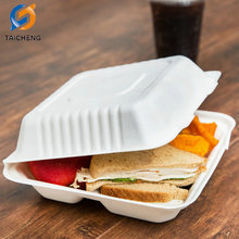 Ecofriendly Biodegradable sugarcane bagasse 3-compartment Pulp clamshell