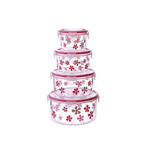 Reusable plastic food storage container sets