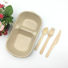 2 compartment bagasse salad bowl with spoon and fork