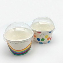 disposable cold ice cream to go paper cup with lid