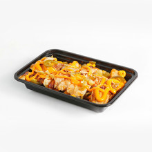 rectangle disposable plastic food container with transparent lid