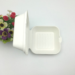 Eco-friendly compostable sugarcane paper pulp clamshell burger box