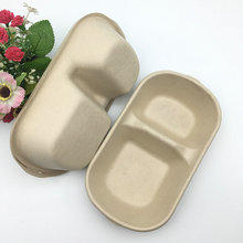 brown salad fruit bagasse food container bowl 2 compartment