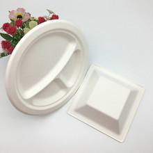 eco-friendly round and square paper pulp bagasse pulp plate