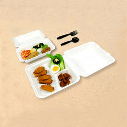 8'' and 9'' recycled bagasse food container clamshell