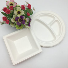 compostable recycled sugarcane plate takeaway bagasse plate