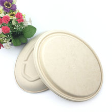 disposable oval recycled bagasse bowl with sugarcane lid
