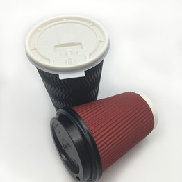disposable food grade ripple wall hot drink take out paper cup with lid