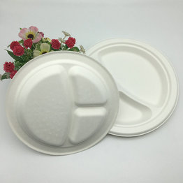 compostable 3 compartment round recycled bagasse plate dinnerware dishes