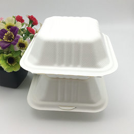 ECO-friendly Sugarcane Bagasse Clamshell Food Container Box