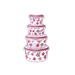 Printed round microwavable plastic food container