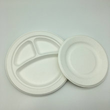 9 inch 3 compartment round Eco-Friendly sugarcane trays