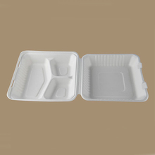3 compartment bagasse paper pulp food container clamshell