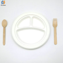 Biodegradable sugarcane plates bagasse disposable paper plate with 3 compartment