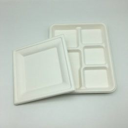 recycled eco-friendly square shape sugarcane dishes and plates