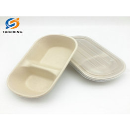 sugarcane bagasse biodegradable unbleached 2 compartment food package