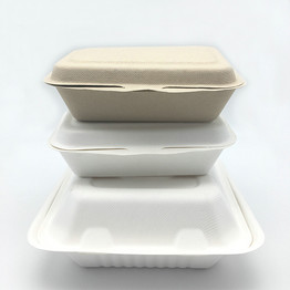 8inch 9inch sugarcane pulp compostable clamshell