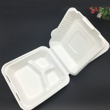 biodegradable sugarcane bagasse disposable clamshell box
