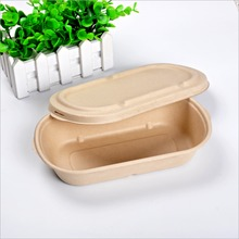 brown color unbleached sugarcane bagasse salad bowl with paper lid