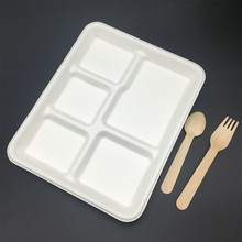 compostable Heavy duty disposable sugarcane 5 compartment trays