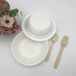 white disposable biodegradable soup bowl with FDA certificated