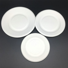 6inch 7inch 8inch Biodegradable Bagasse Tableware Paper Plate Striped
