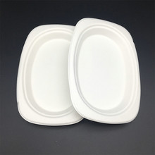 Eco-Friendly Disposable paper plates oil-proof biodegradable tableware small oval plate