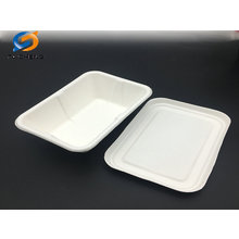 biodegradable eco friendly sugarcane bagasse white tray and lid