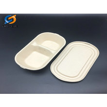rectangle biodegradable wheat straw salad bowl with straw lid