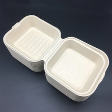 wheat straw disposable biodegradable hinged burger box
