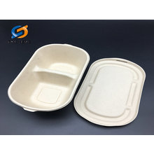 1000 ml 2 compartment wheat straw salad bowl with lid
