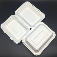 Food Use biodegradable sugarcane bagasse hinged lid lunch boxes