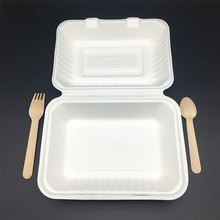 renewable biodegradable sugarcane bagasse heavyweight lunch hinged box