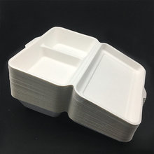 1000ml 2compartment biodegradable take away hinged food box