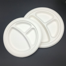 9inches three compartment Eco-Friendly Disposable paper plates biodegradable lunch trays