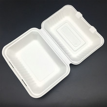 Disposable Feature compostable Sugarcane container to-go hinged box