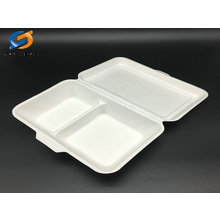 1000ml 2 compartment biodegradable sugarcane food box