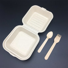 6 inch Food Use sugar cane bagasse pulp biodegradable hinged burger boxes