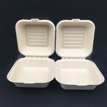 Eco-Friendly Compostable Takeout To-Go Food Containers Hinged Bagasse Microwaveable Freezer Safe