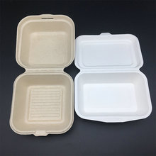 wheat straw Restaurant Take Out Food Container Biodegradable hinged to go burger Boxes