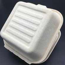 6 inch White Burger Box made from Bagasse Sugarcane Fiber Biodegradable Compostable hinged to go burger Boxes doggy box
