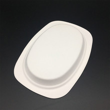 eco-friendly plant fiber bagasse pulp recyclable biodegradable oval lunch trays